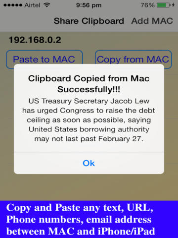 Clipboard Share - Copy & Paste between iOS and MAC