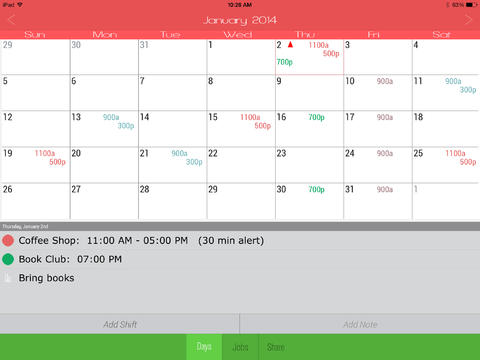 Calendar - Manage Your Work Shifts