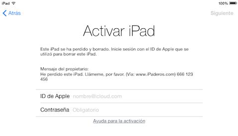FOTO iPad BLOQUEADO POR ICLOUD robo