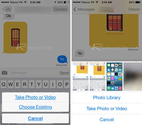 Acceso a fotos desde Mensajes iOS 8 vs iOS 7_result