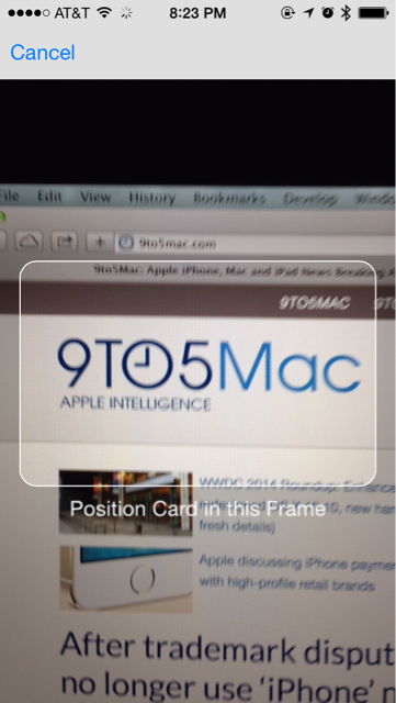safari ios 8 tarjeta de crédito escanear scan 2