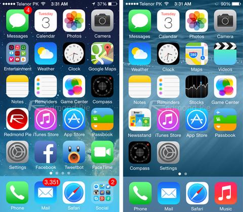 springboard iOS 8 vs iOS 7_result