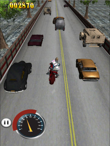 Moto race with car