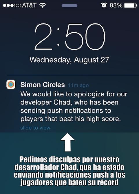 Simon Circles notificacion push 2