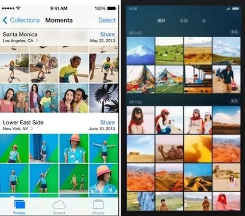 fotos MIUI 6 vs iOS 7