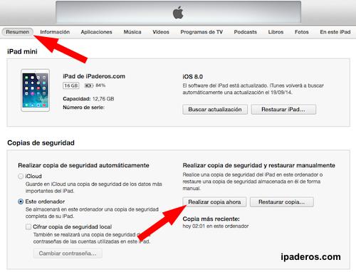cómo instalar iOS 8 copia seguridad