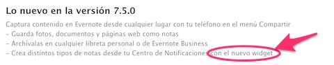 evernote actualizacion widget