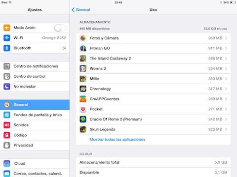 liberar espacio iPad