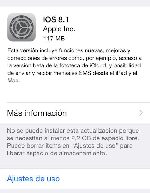 iOS 8.1 actualizacion