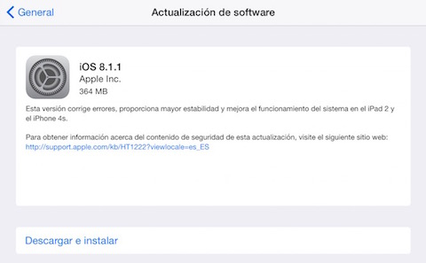 iPad Air - tamaño descarga