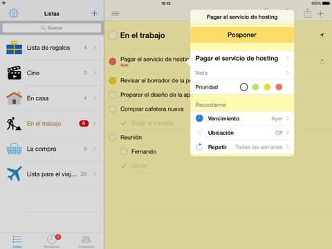 Pocket Lists- listas de tareas y recordatorios