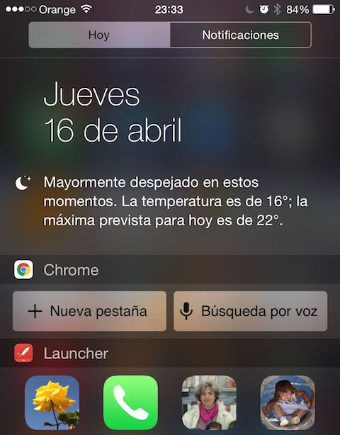 chrome iOS widget