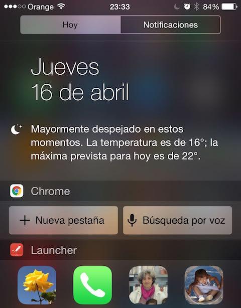 chrome iOS widget