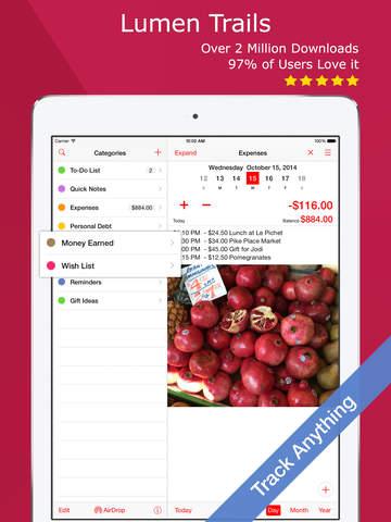 Lumen Trails Money Tracker - Budget Planner, Expense Journal and List Maker