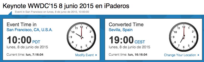 hora wwdc 2015 españa