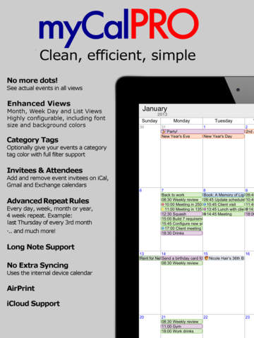 myCal PRO- Calendar & Event Organizer