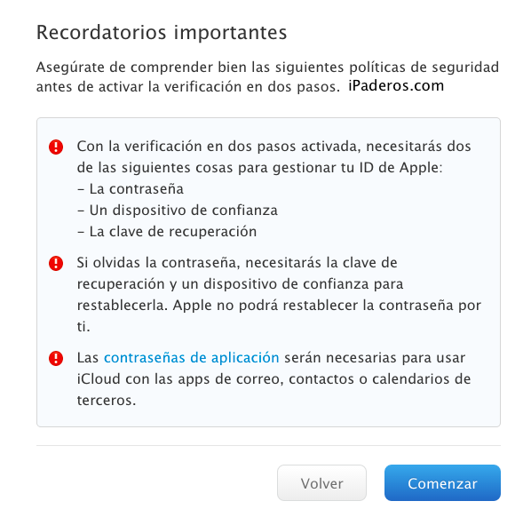 Apple ID verificacion dos pasos 3c