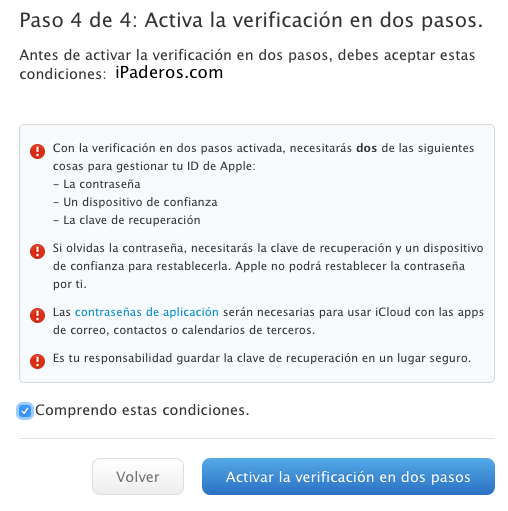 Apple ID verificacion dos pasos 8