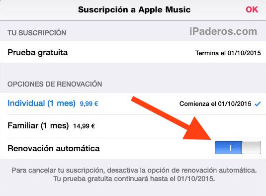desactivar apple music 4