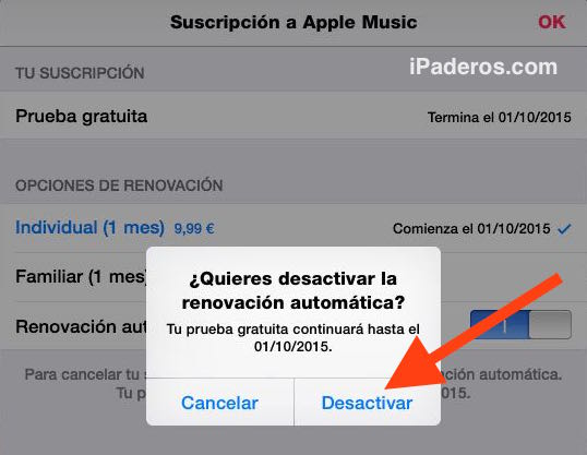 desactivar apple music 5