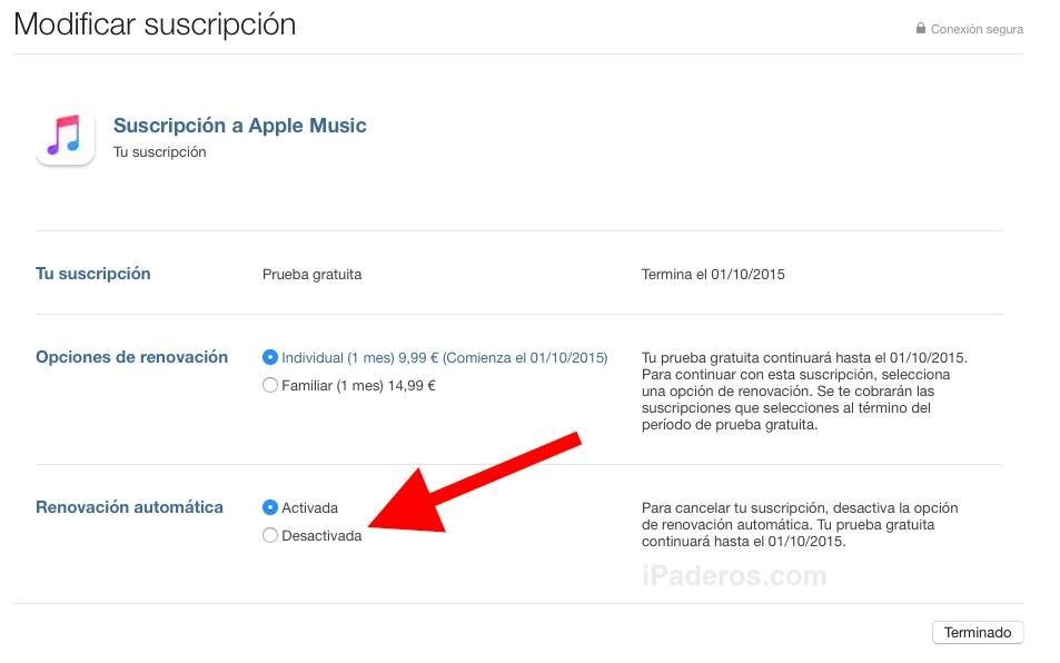 desactivar iTunes 3