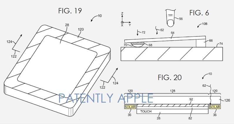 Patente que muestra mejoras en paneles solares en el iPad