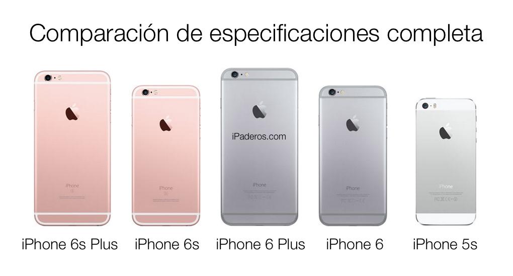 comparación especificaciones iPhone
