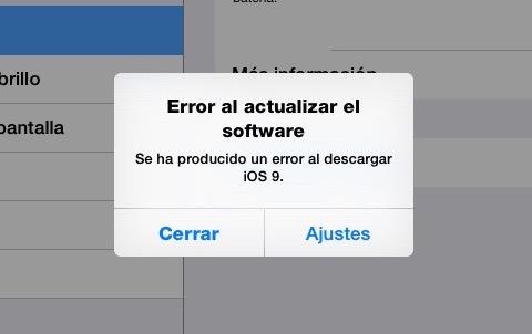 error al actualizar el software iOS 9