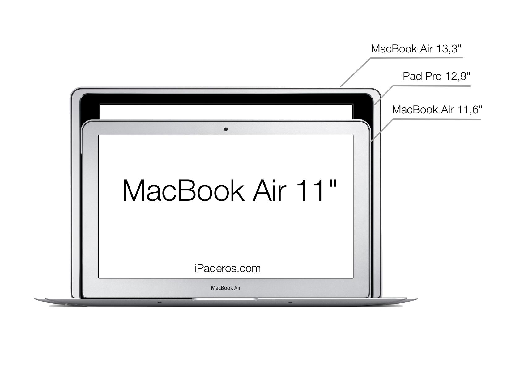 iPad Pro vs MacBook Air 11 y 13 size comparison