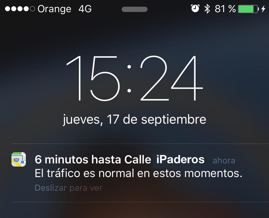 localizacion coche tiempo casa iOS 9