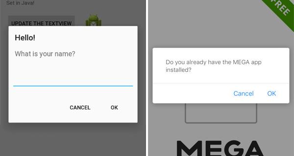 cuadro dialogo iOS 9.3 vs Android L