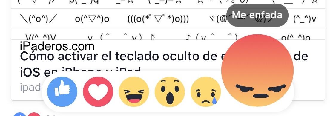 Reacción Facebook Me enfada