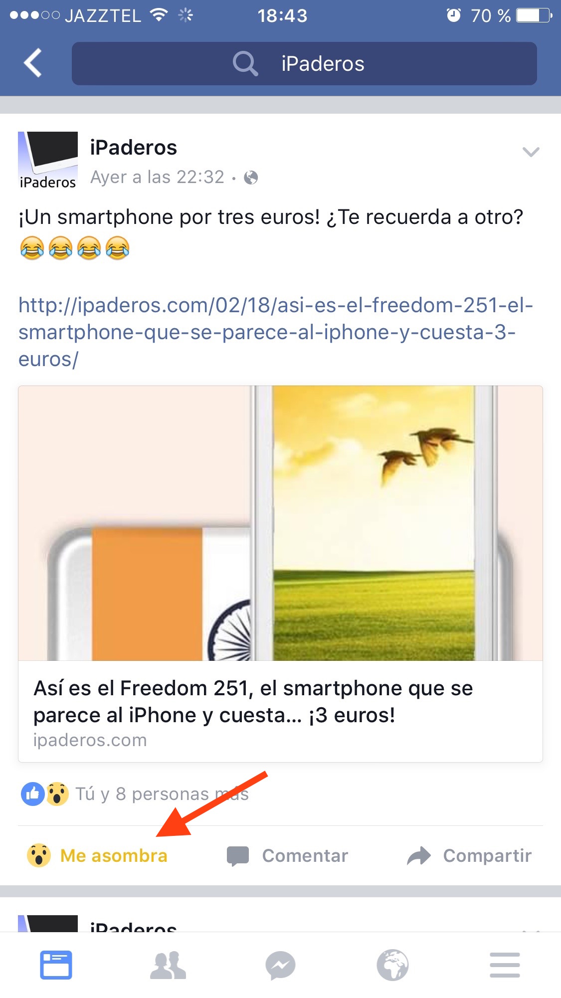 Reacción Facebook quitar reaccion
