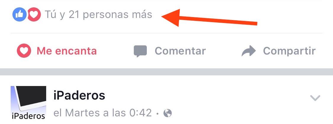 Reacciones Facebook contador pulsar