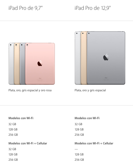 modelos iPad Pro disponibles