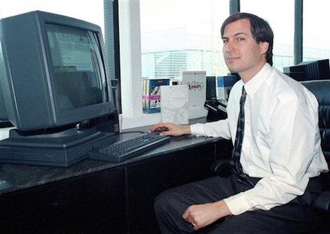 Jobs junto a su NeXTstation en 1991