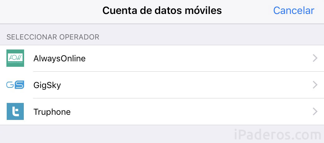 Cuenta de datos móviles para el iPad