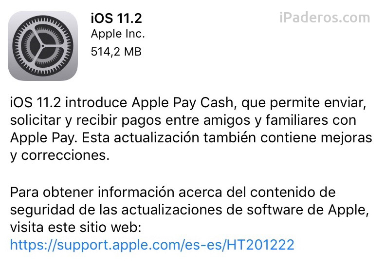 iOS 11.2 disponible en el iPad