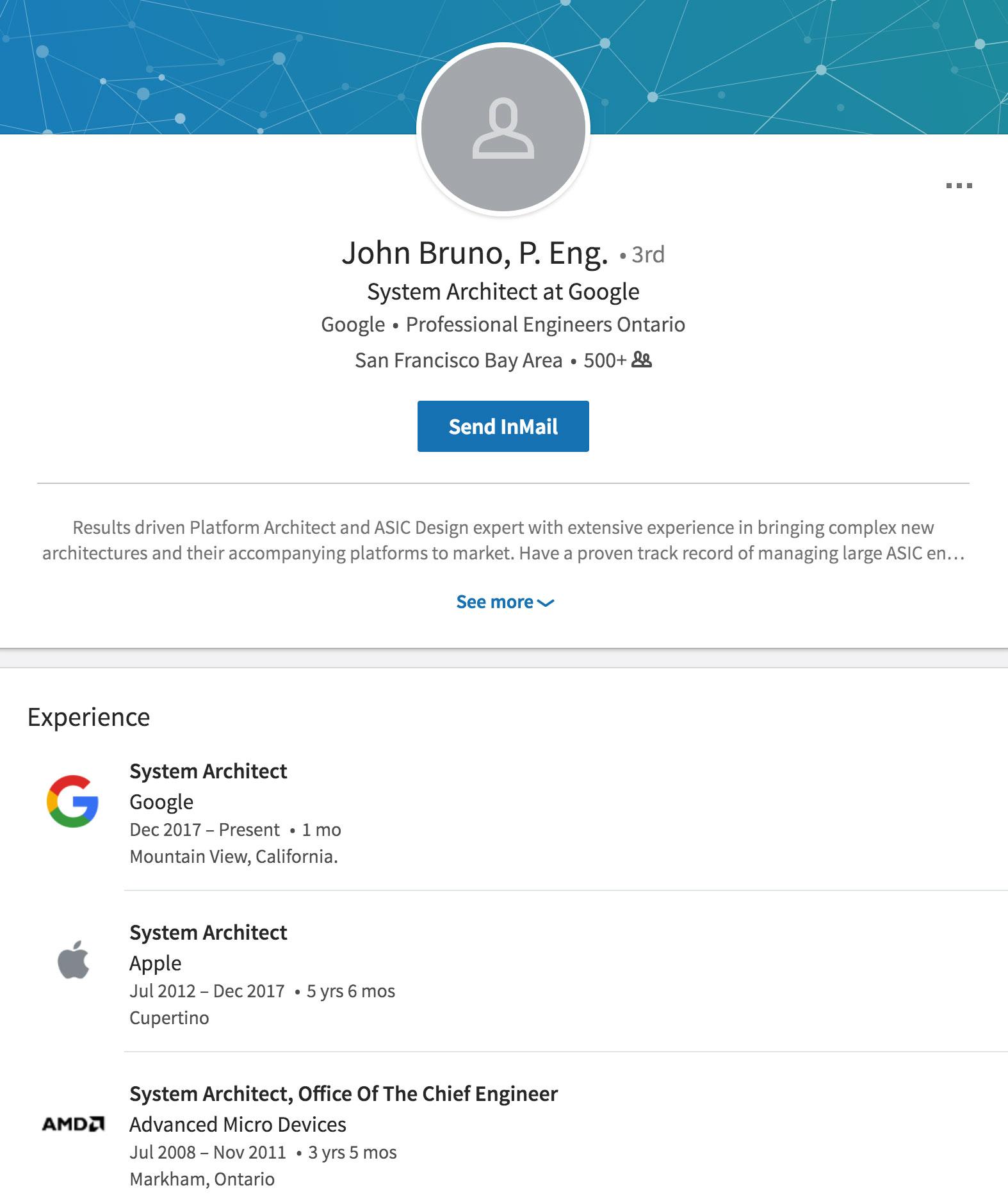 LinkedIn de John Bruno