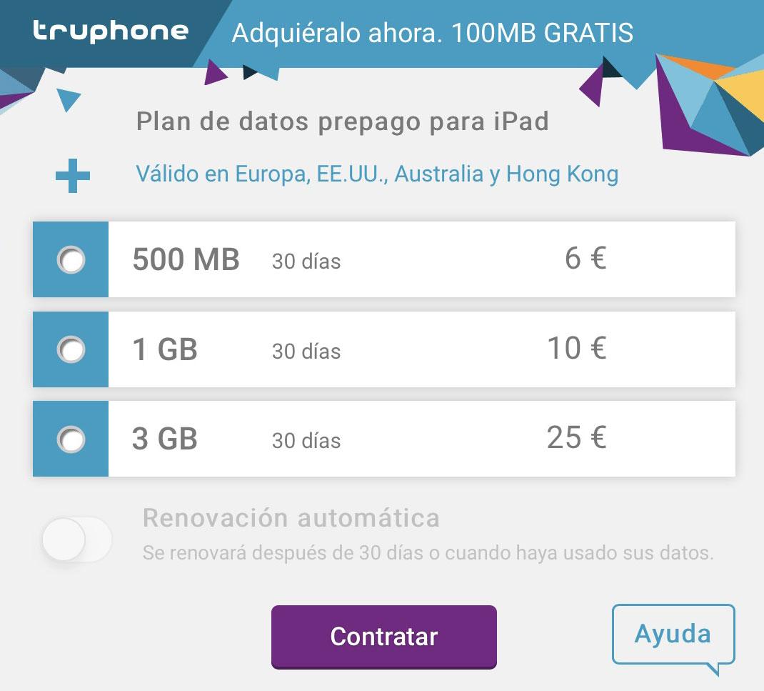 Tarifas de datos contratables con Truephone en el iPad directamente