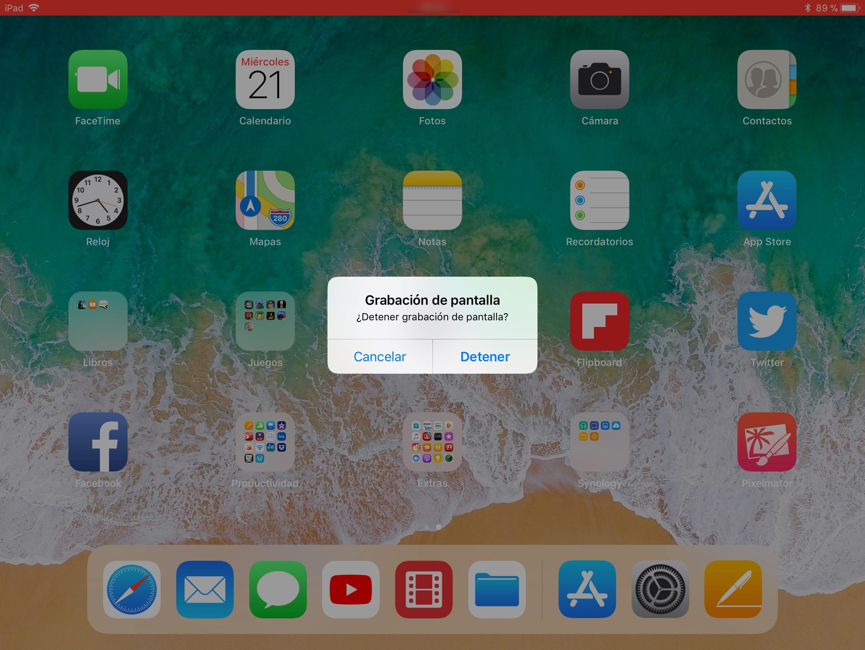 Detener grabacion de pantalla iOS11