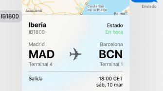 Previsualización vuelo iMessage