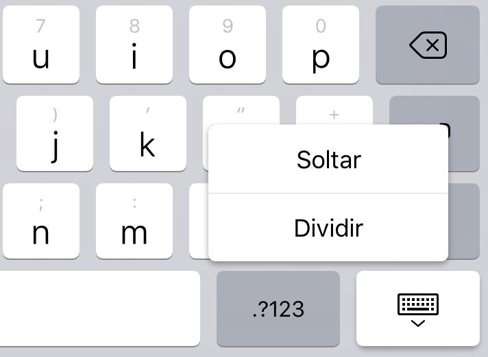 Boton para dividir el teclado en el iPad