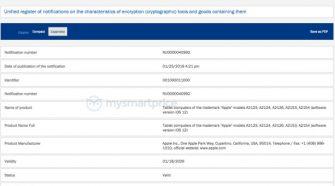 Registro de nuevos modelos de iPad en la Eurasian Economic Commission.