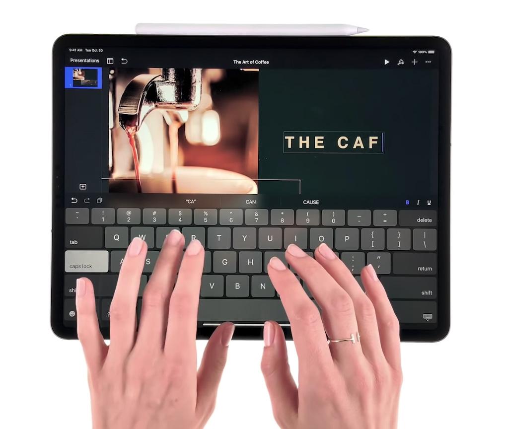 Tecleando en un iPad Pro