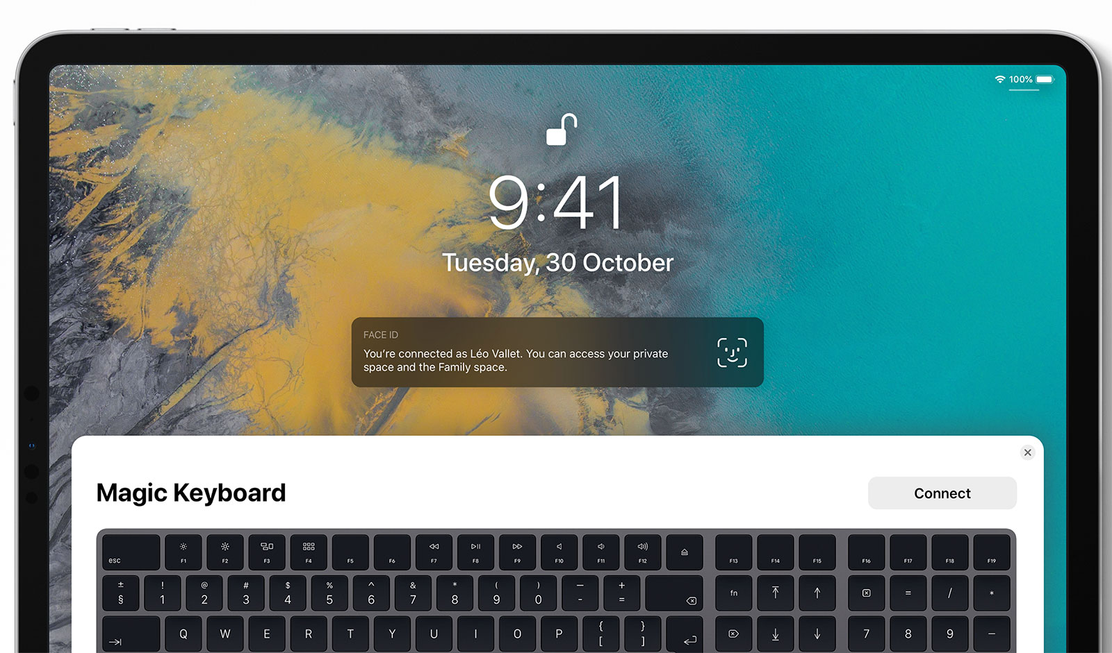 Magic Keyboard emparejado con un iPad en un concepto de diseño de iOS 13