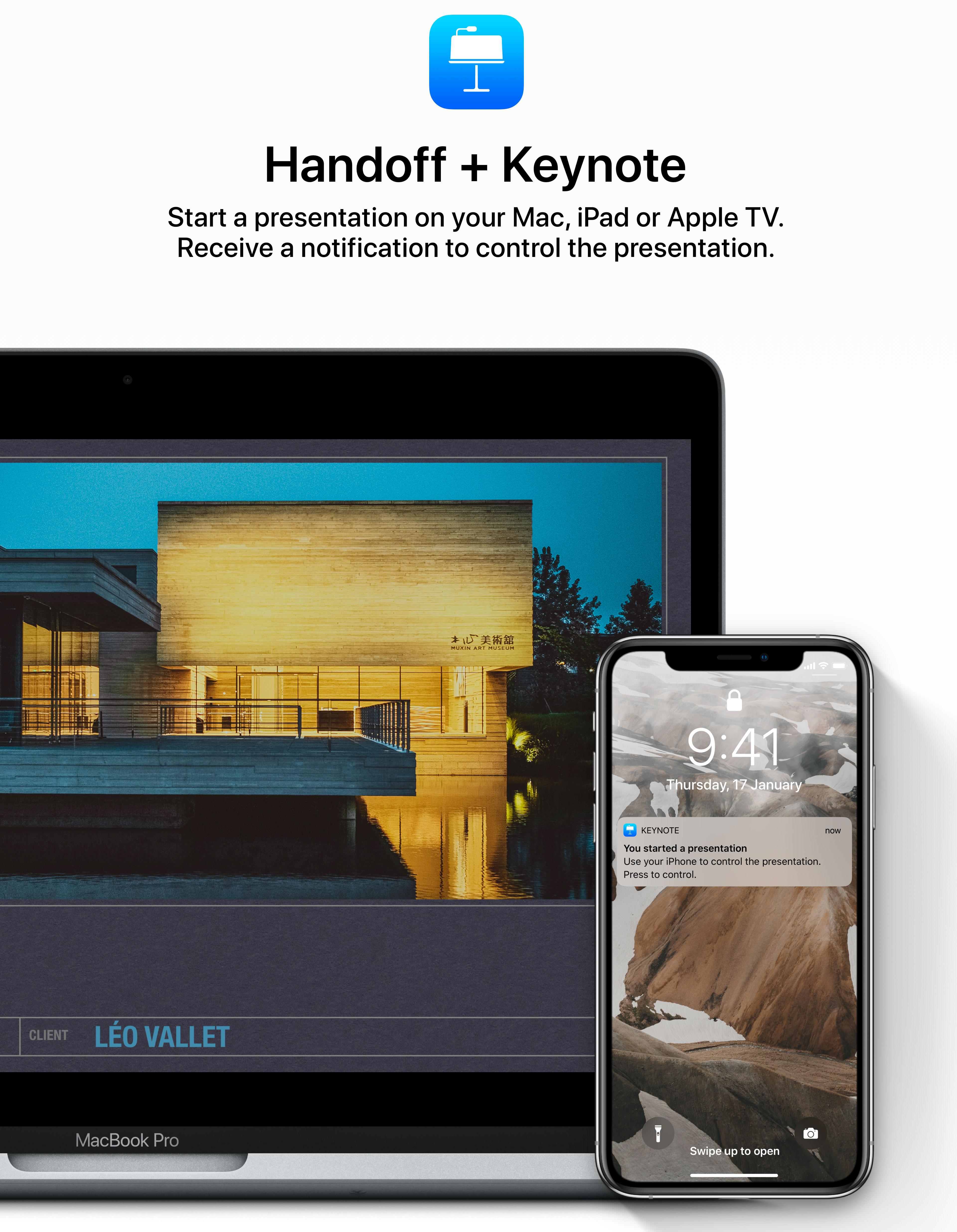 Concepto de diseño de iOS 13: iPhone como mando remoto de presentaciones de Keynote