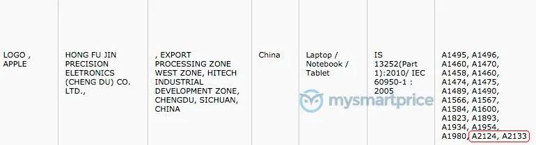 Registros en India de modelos de iPad A2124 y A2133